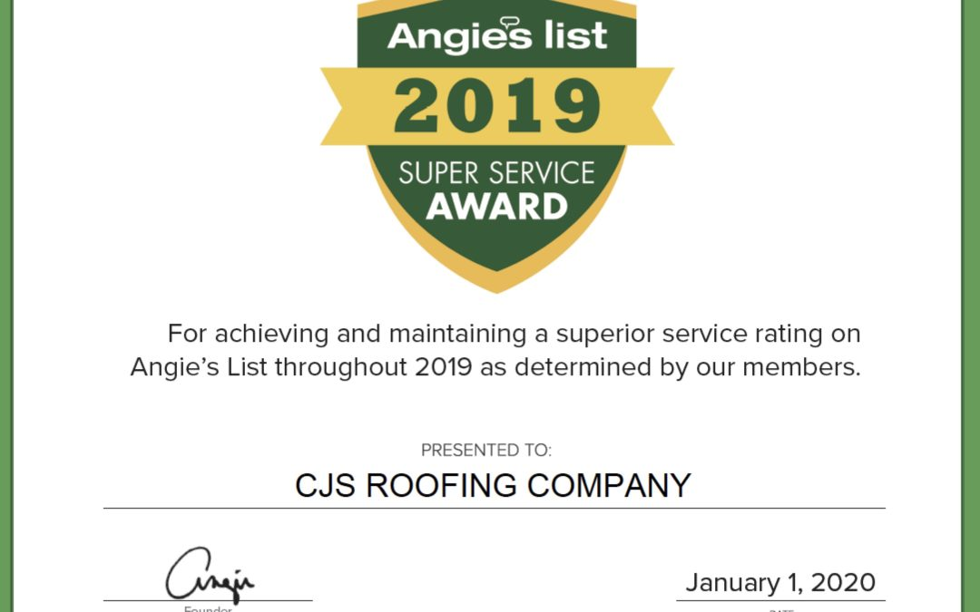 CJS Roofing in St. Louis Earns 2019 Angie's List Super Service Award